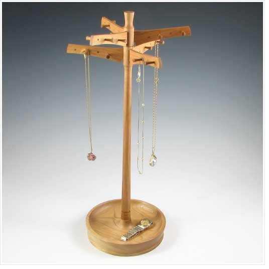 Barclay Fine Woodworking Necklace Holder With Bowl Base